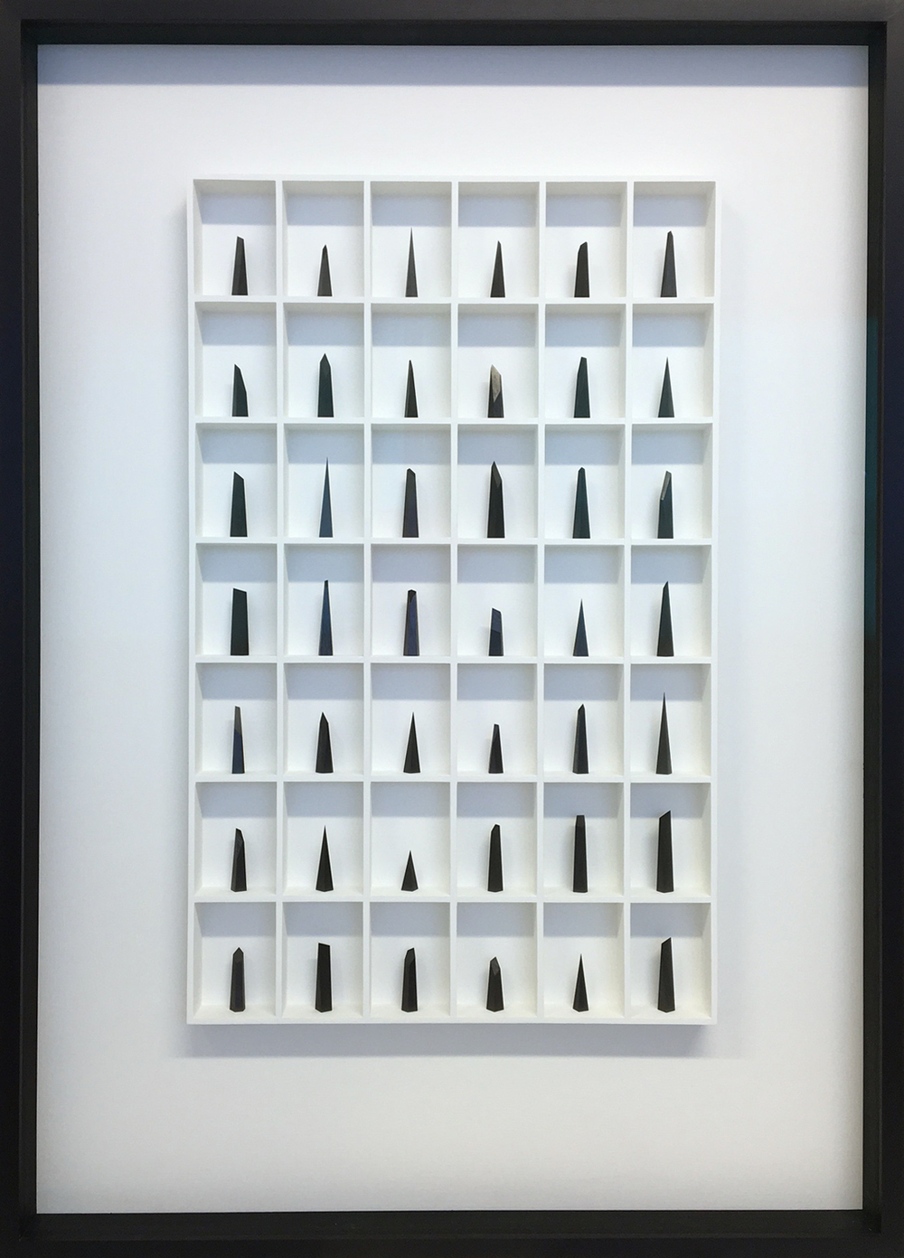 Paul Fry Hope - 42 pieces of graphite 82 x 7 x 115 cm graphite in wood construction  SOLD