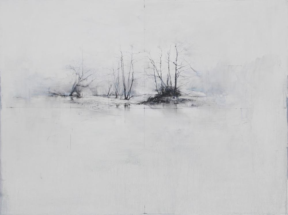 Laurie Steen RWA Spring is like a perhaps (which comes carefully out of nowhere Drawing 02-16 oil & graphite on wood panel custom white gessoed frame 60 x 80 cm £ 2300