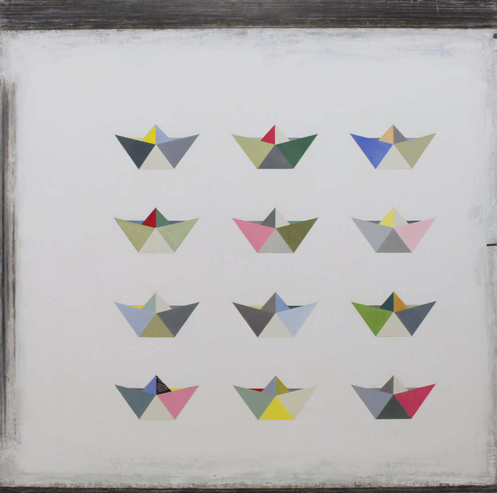 Paul Fry 12 Origami Boats 100 x 100 cm oil, gouache & graphite on canvas £3000