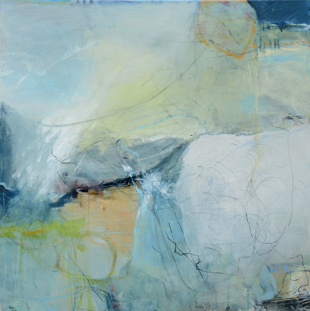 David Mankin 'Shadowy cliffs and sheep-worn ways'   mixed media on canvas 80 x 80 cm £ 1450