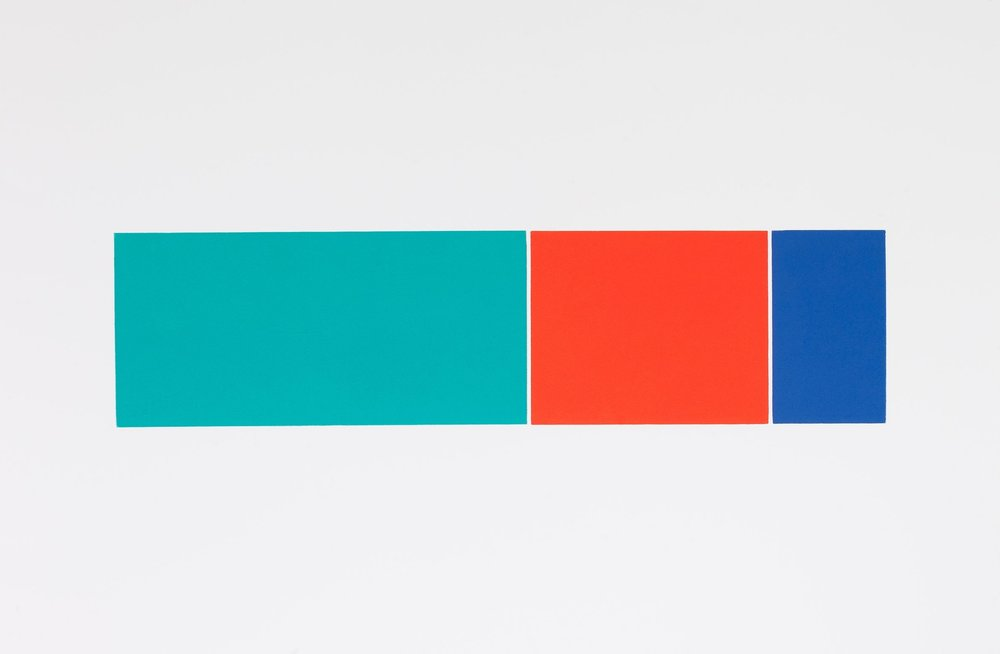 Henry Garfit   Green, Red and Blue Composition   Relief print with industrial rubber   45.5cm x 76cm   Edition of 10   £ 550  framed