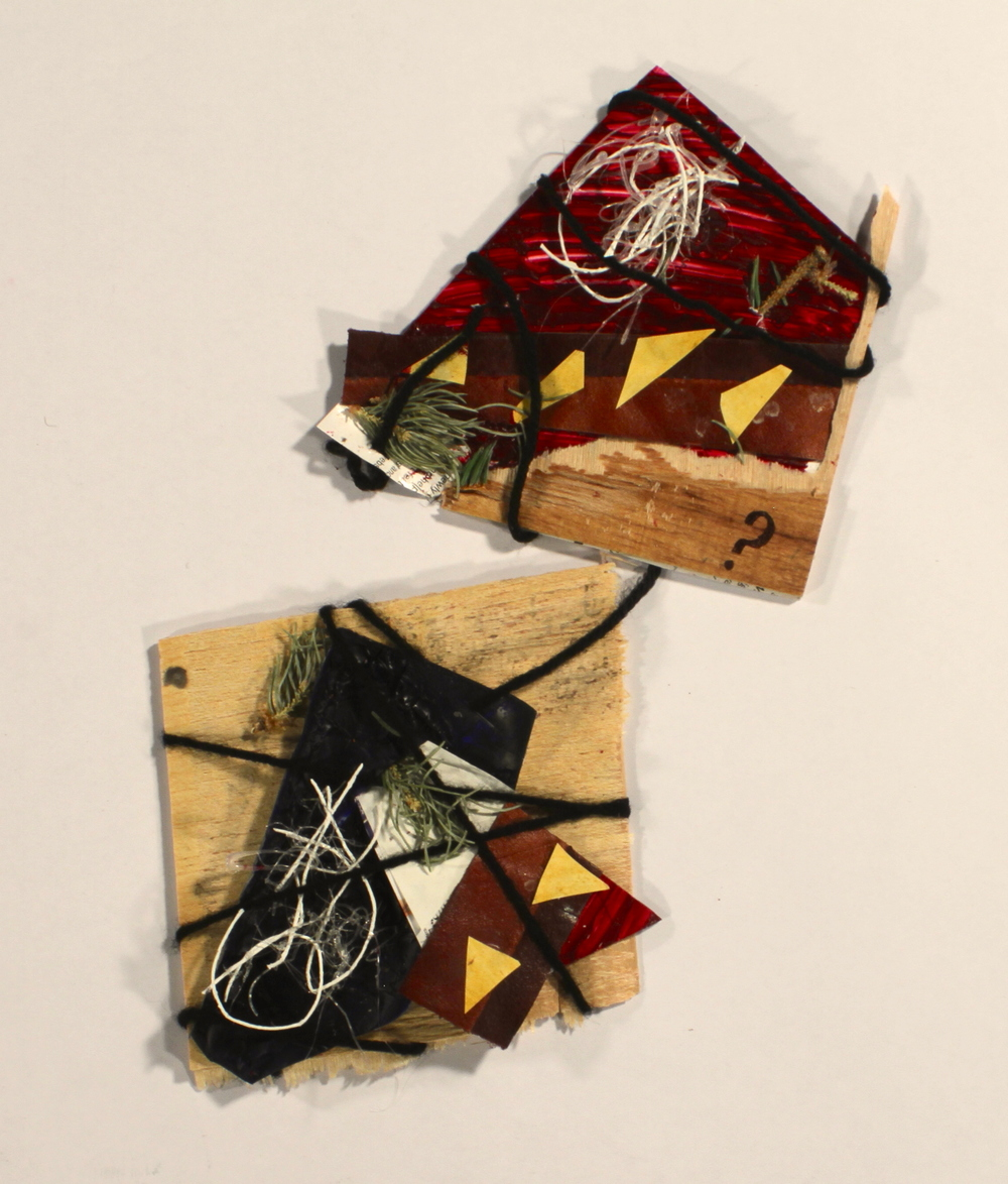 Confuzzled  2014, wood, yarn, pine, hot glue, leather, paper, acrylic, ink, 8in x 6in