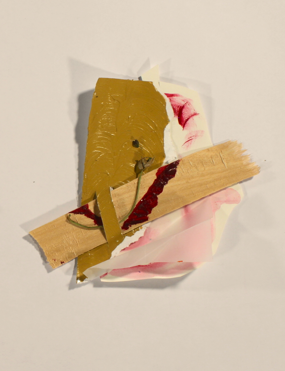 Tenderness  2014, wood, acrylic, vellum, paper, flower, 9in x 10in