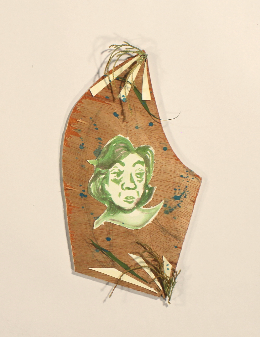 Distain  2014, wood, paper, acrylic, leaves, 11in x 6in