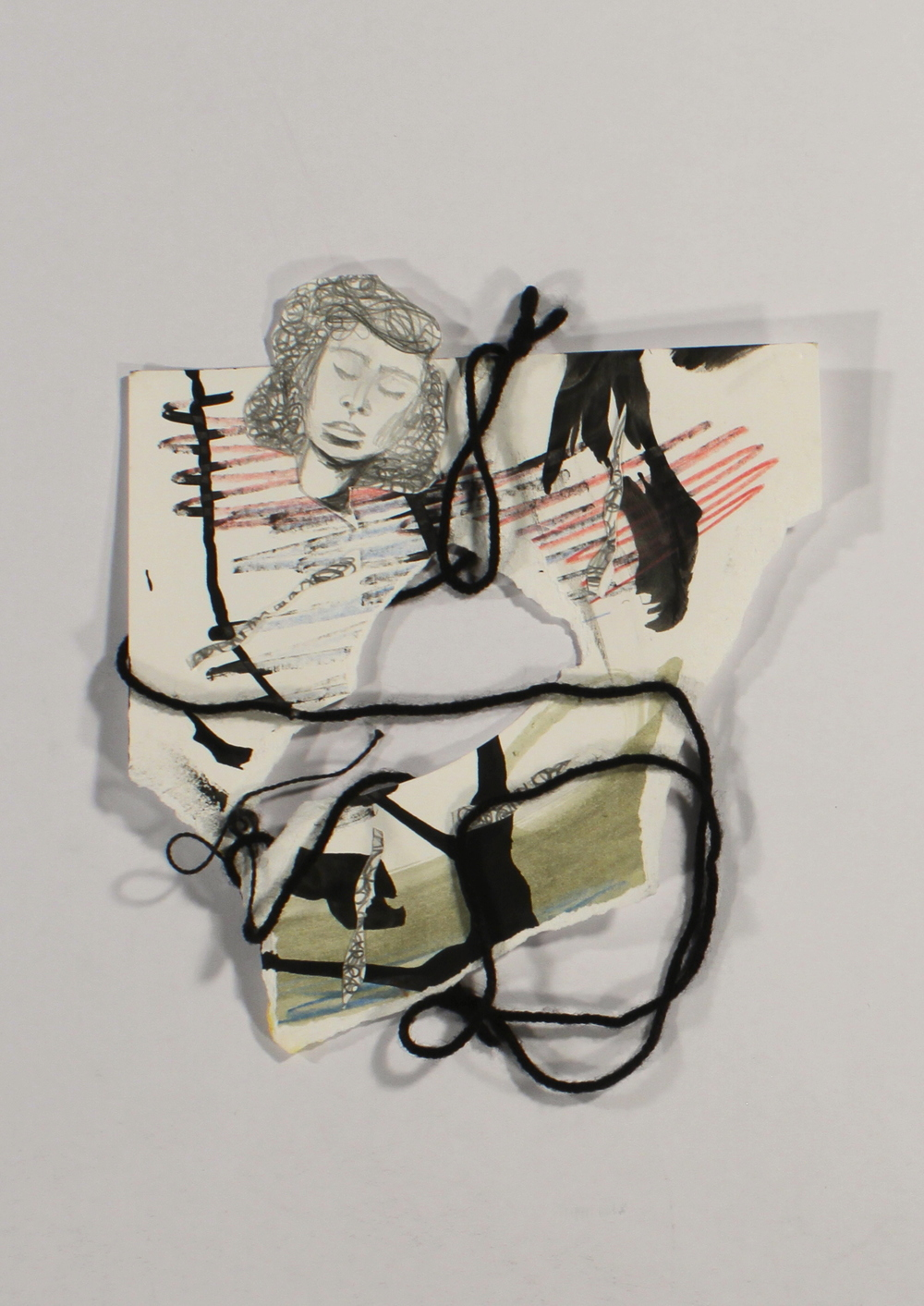 Under The Weather  2014, paper, lead, ink, colored pencil, acrylic, yarn, 8in x in