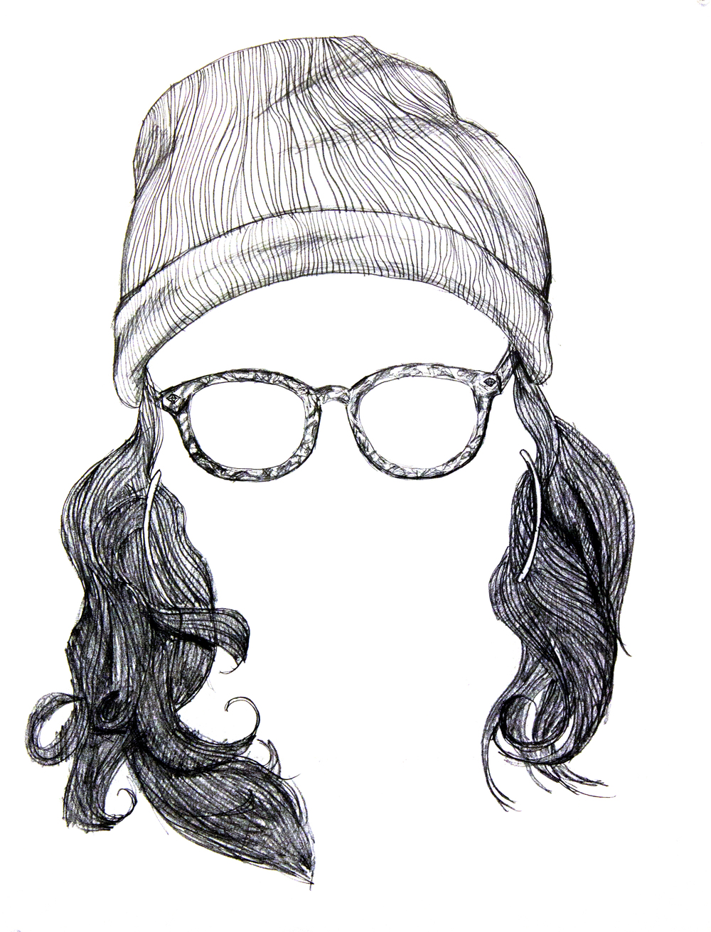 Instant Hipster  2012, ink on paper, 18in x 24in