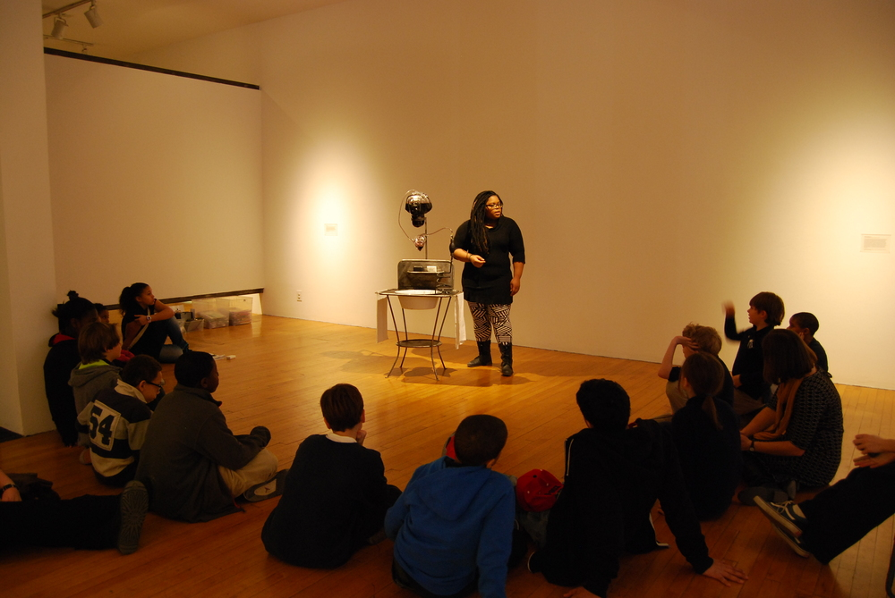 "Spending some time discussing Alison Saar's ""50 Proof"" sculpture with 4th graders for the Bakalar & Paine Gallery's Looking to Learn Program."