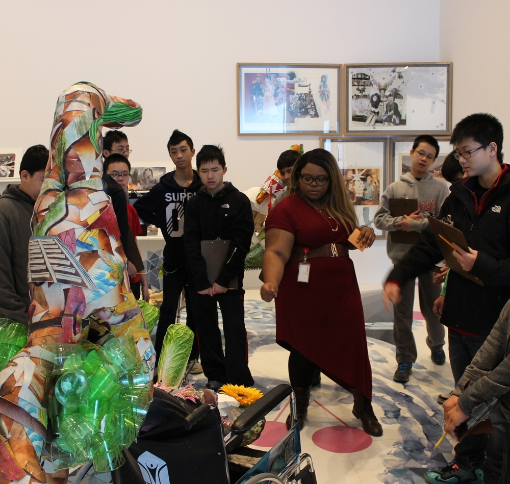 Here a student and I point out parts of the sculpture that seem most ambiguous for the group to reflect on within  The Birthday Party  exhibition at the ICA in Boston.