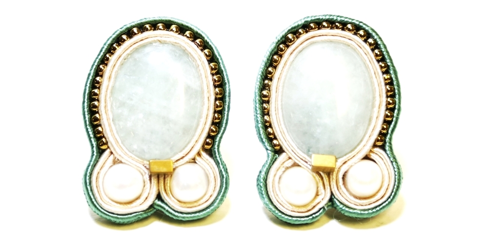 Amazonite  Swarovski Glass Pearl  Copper Bead  Japanese Glass  Braid from Poland  Surgical Steel Flat Back Fingernail Post