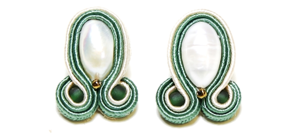Fresh Water Pearl  Japanese Glass  Braid from Poland  Leather Backed  Surgical Steel Post  Hand Crafted in Annapolis, Maryland