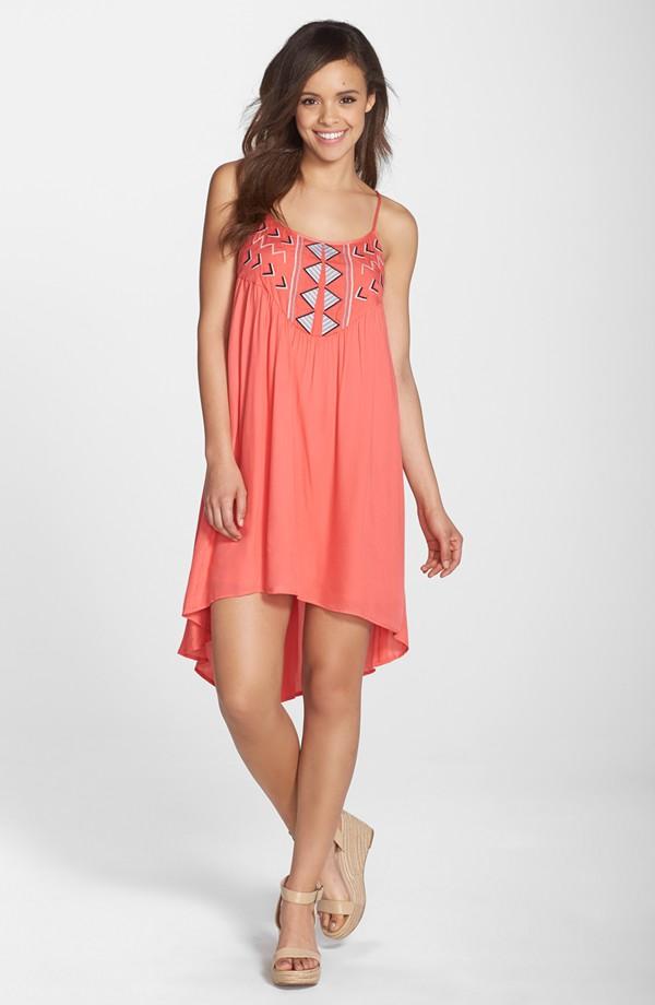 BB Dakota 'Kase' Embroidered High/Low A-Line Dress