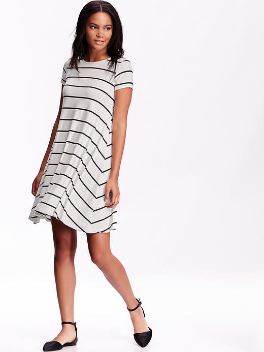Women's Jersey Swing Dress White Stripe