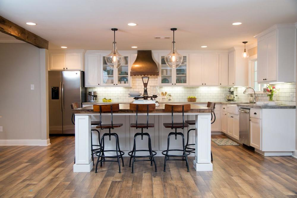 This kitchen is GORGEOUS.  Joanna and Chip from HGTV Fixer Upper  sure know their stuff! Ah-mazing. With that being said, electrical work is always better left to the professionals like Chip and JoJoinstead of trying to do it yourself!