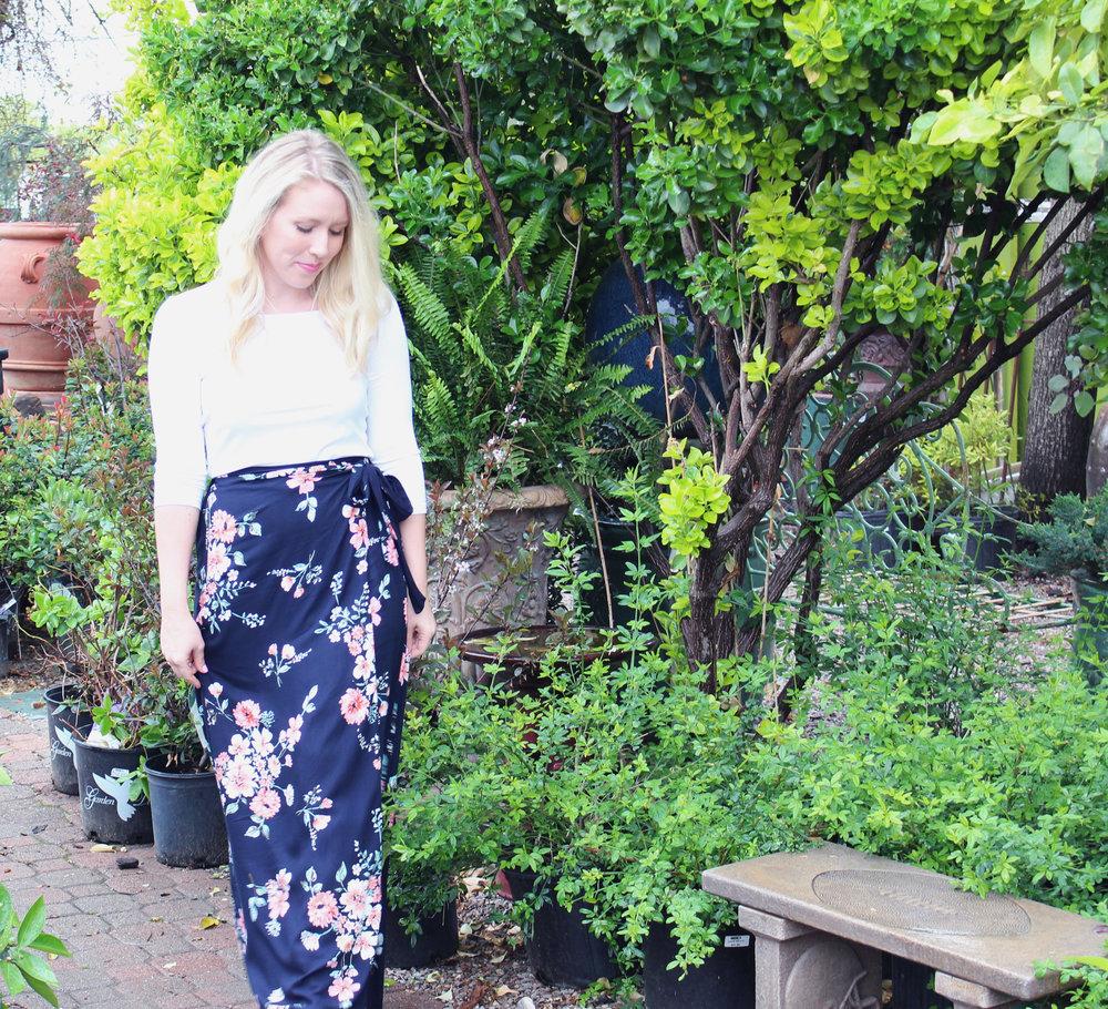White Top  / Floral Skirt ( similar ,  similar,   similar ,  similar )
