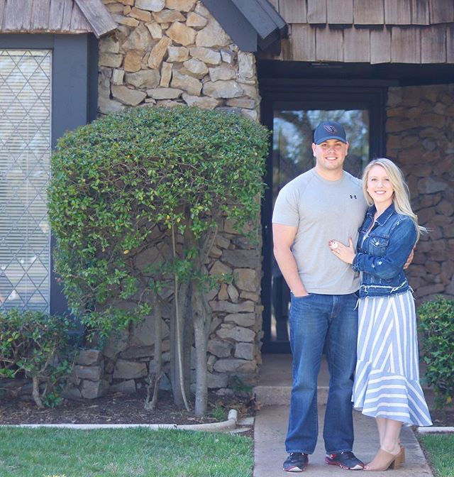 "New blog post! Today I'm sharing the ""before"" photos of our home and our plans for updating it. I will remember the day we got the keys to our first home for the rest of my life! No one I'd rather do all the adulting with than this hunk right here! #linkinbio #acresandrichmond #homesweethome"