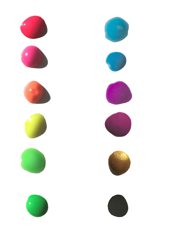 City colour dots- detail of colours: red, pink, orange, yellow, lime, green, water, blue, purple, wine, gold black