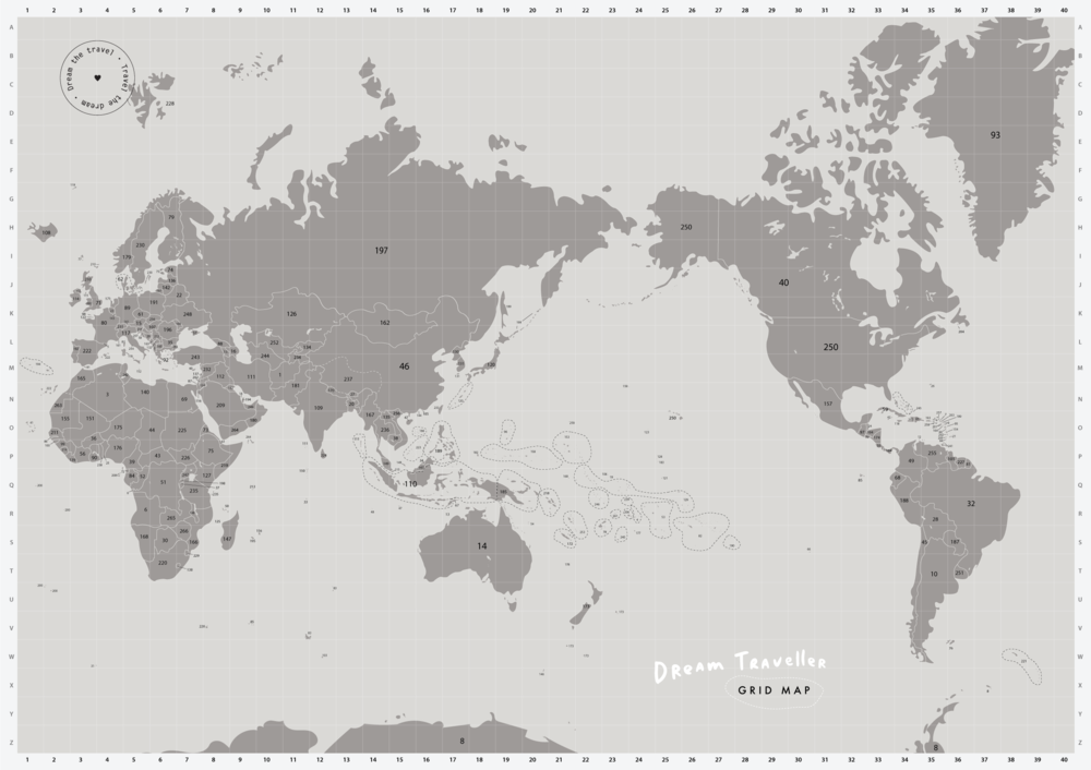 - Grid MapUse this detailed gridded map to decipher all the numbered countries / territories. Test your geographical knowledge to see how many places you can name correctly. You'd be surprised just how many places there are out there to visit!