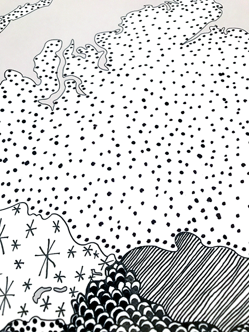 e.g. B/W hand drawn patterns.