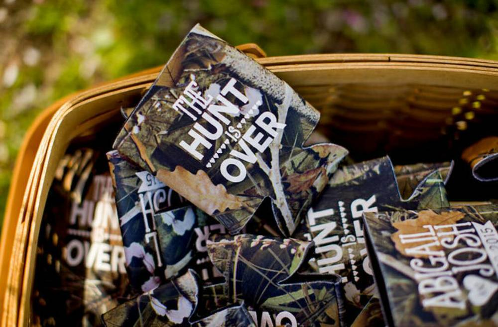 The Hunt is Over Camo Wedding Koozie Design.jpg
