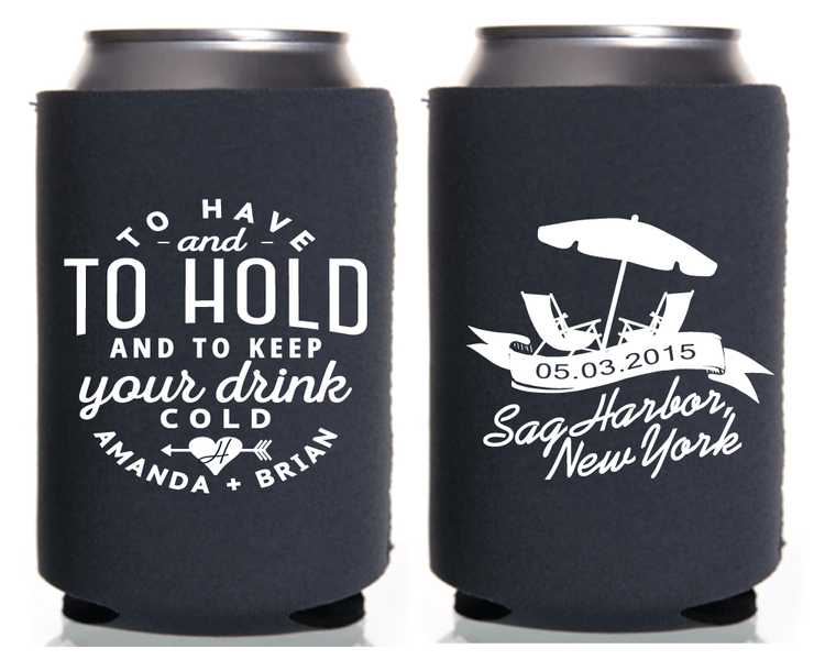 To Have And Hold Beach Chairs Personalized Wedding Koozies