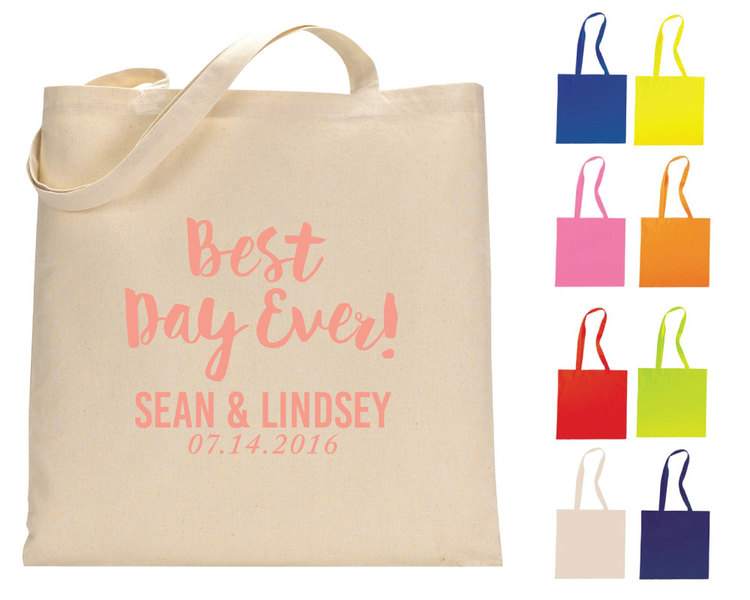 Best Day Ever Tote Bags, Personalized Tote Bags, Wedding Tote Bags ...