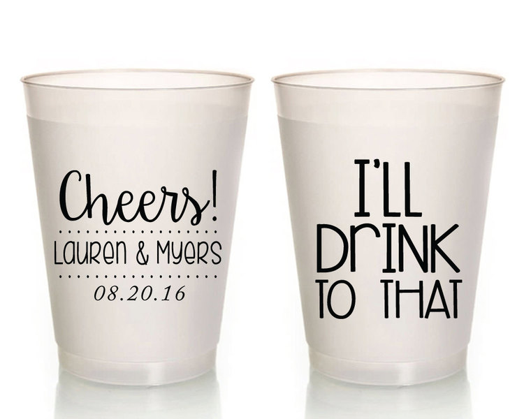 wedding cups personalized wedding cup custom wedding favor frosted wedding cups rehearsal dinner favors plastic cups cheers cups 1378