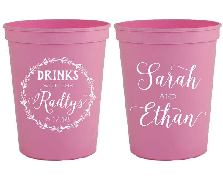personalized plastic cups pink party cups wedding cups custom cups party cups vintage cups wedding favor cups bridal shower cup 1348