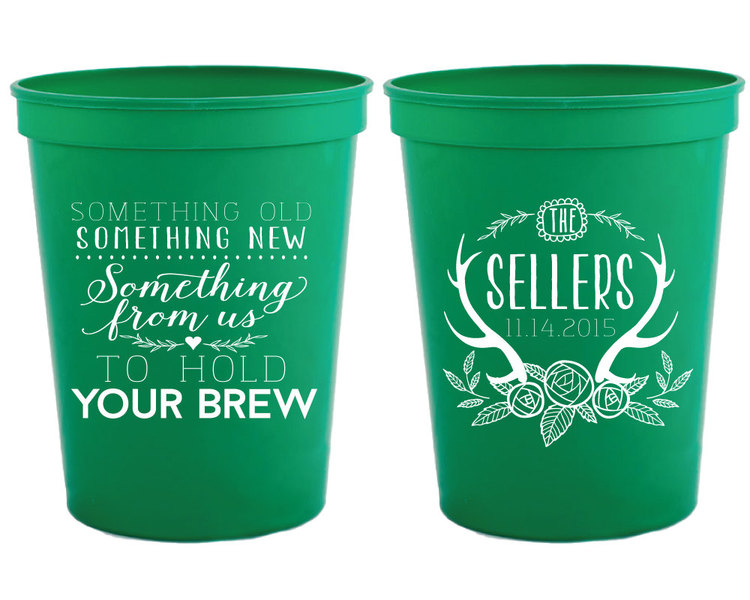 something old something new cups antler monogrammed personalized plastic cups custom cups wedding favor cup shower cup 1129
