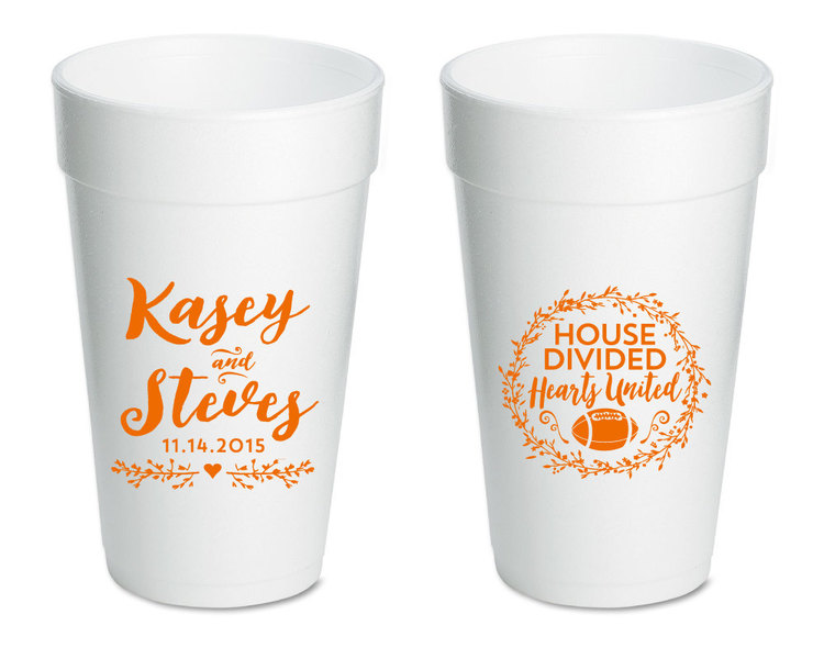 personalized foam cups house divided wedding cups styrofoam party cups wedding favors styrofoam cups monogrammed wedding cups 1196