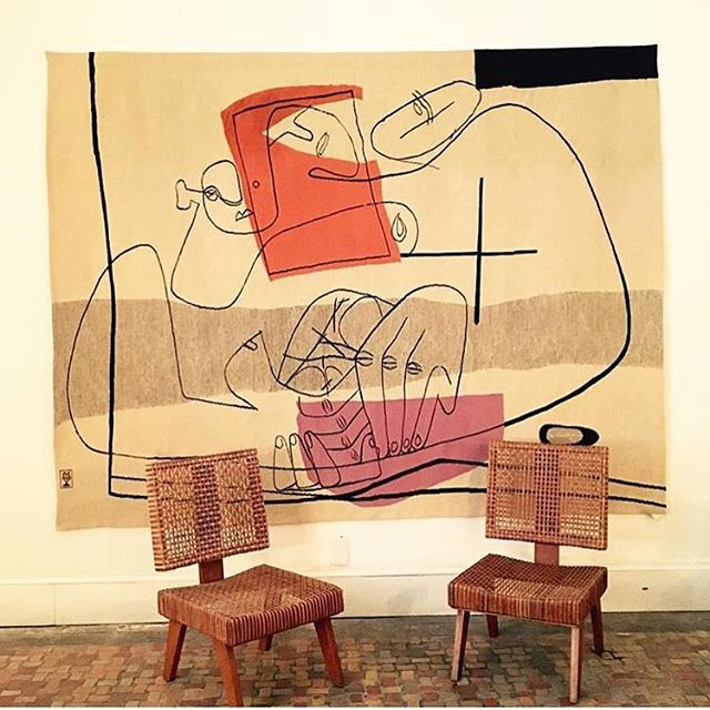 Rare Les Mains tapestry , 1951 + Pierre Jeanneret lounge chairs.