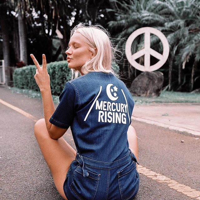 Just give me some peace! The Mercury Rising Coveralls in denim... Only a couple left in stock!! {@_lilikoi shot by @caseykaui for Sugarhigh Lovestonned}
