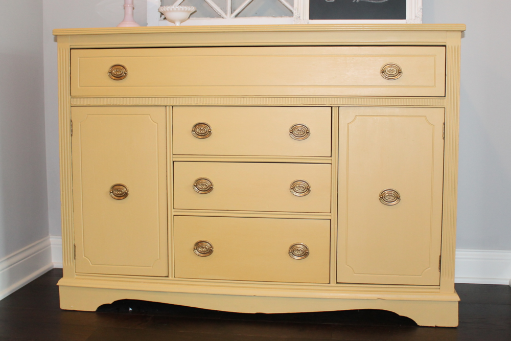Yellow Sideboard with Miss Mustard Seed Milk Paint