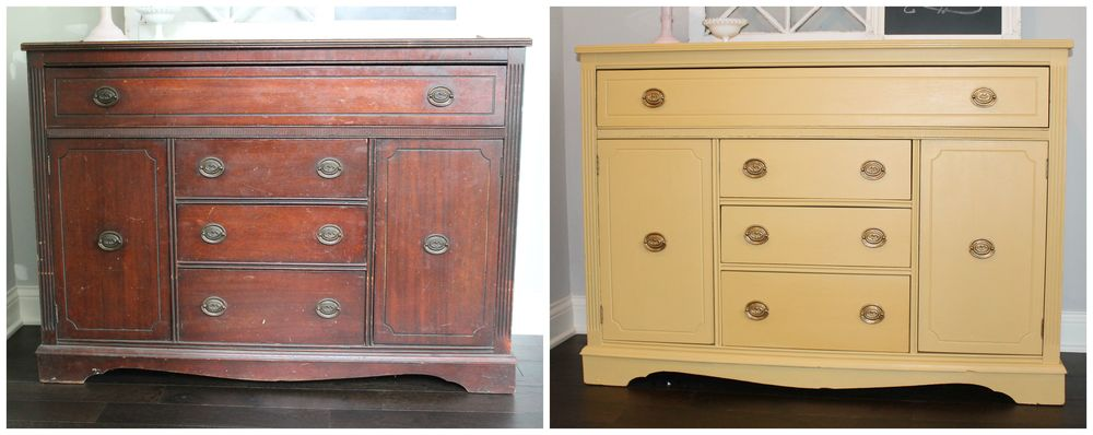 Yellow Milk Paint Sideboard Before and After