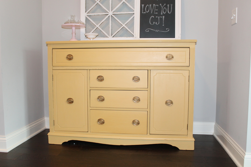 Brand new Yellow Sideboard with Miss Mustard Seed Milk Paint — Tessie Fay KV14