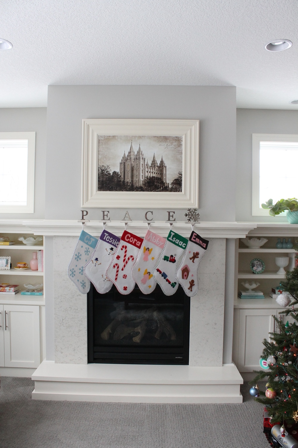 Christmas Mantle with Handmade Stockings