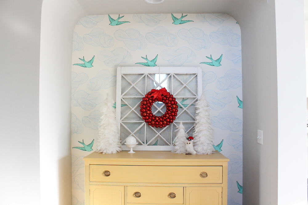 Christmas Nook with Yellow Sideboard