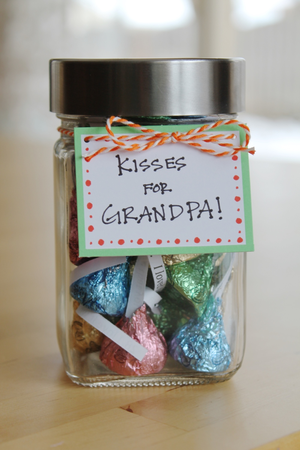 How do I love thee? Let me count the ways! Unwrap Hershey Kisses and replace the paper with a personalized little note. Fill an entire jar with all the reasons you love them. It is the perfect gift for Valentine's Day, Mother's Day or Father's Day.