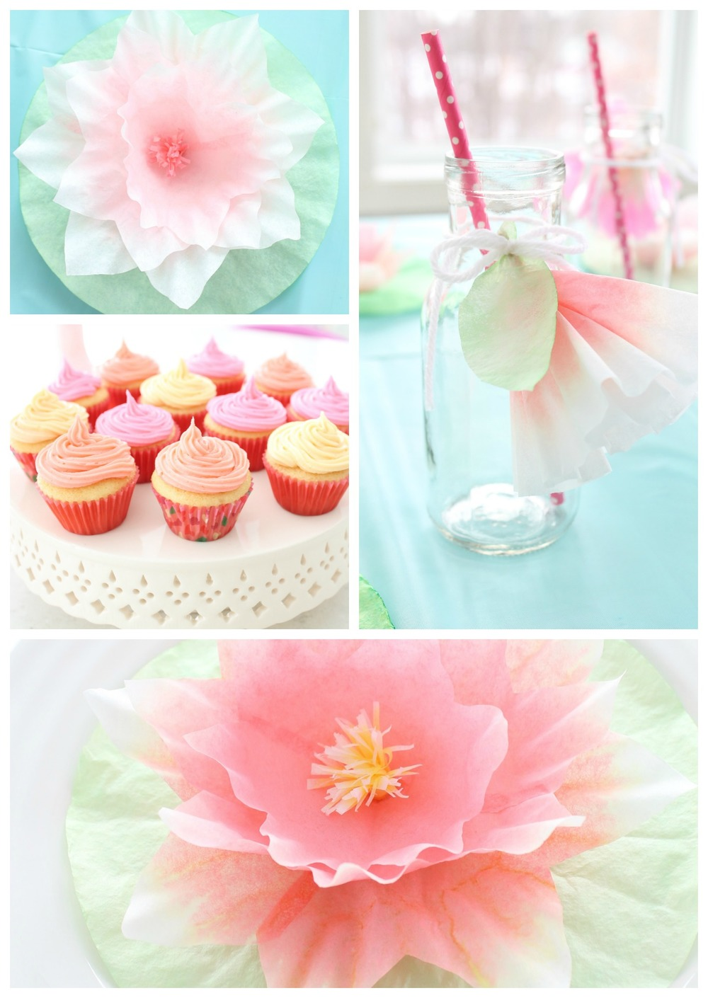 A garden tea party that any little girl would love. Filled with easy to make coffee filter flowers and kid friendly finger foods.