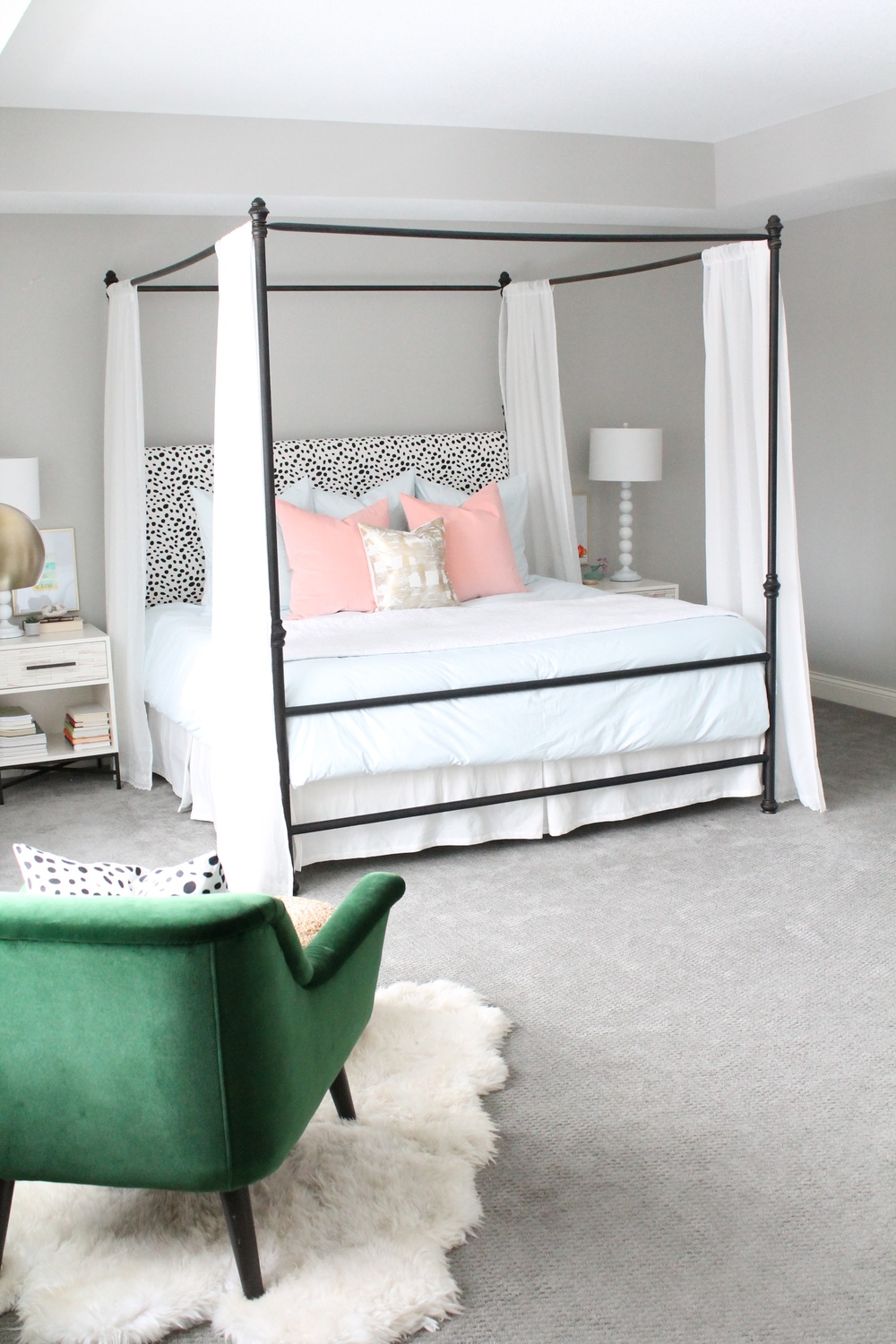 Blue and pink master bedroom - Lovely Master Bedroom Canopy Bed With Dalmatian Headboard Pink And Blue Bedding With A
