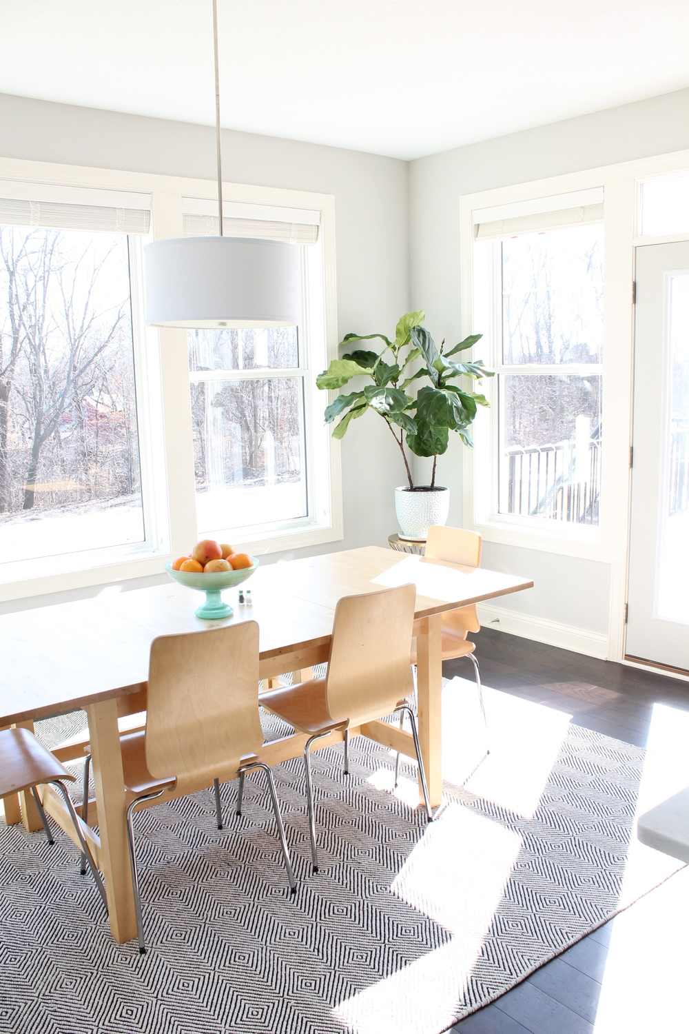 A bright and sunny breakfast nook. Love the fiddly fig and the watercolor vegetables.
