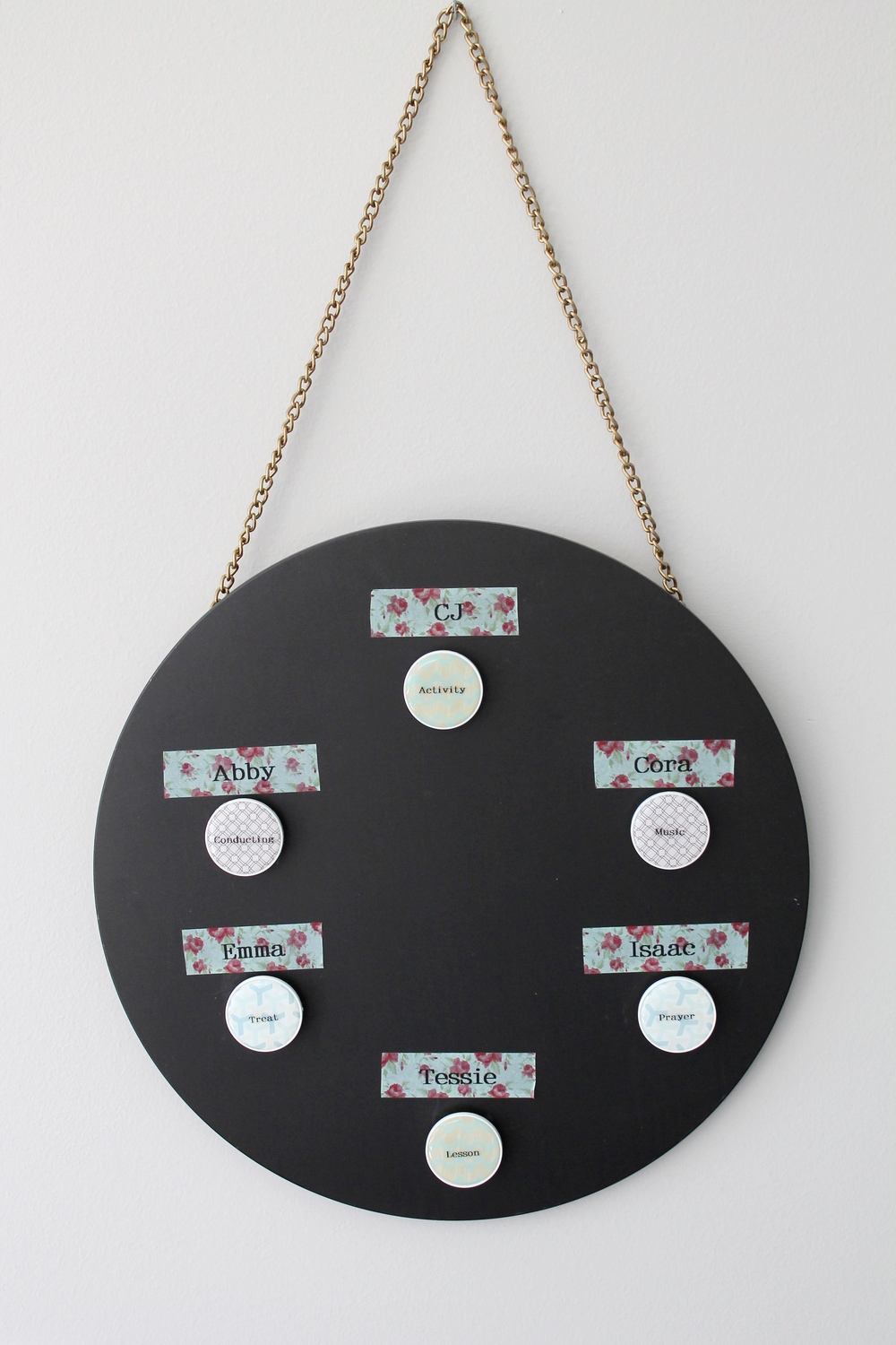 DIY Family Home Evening Chart. Made with a Nate Berkus chalkboard from Target, washi tape and magnets.