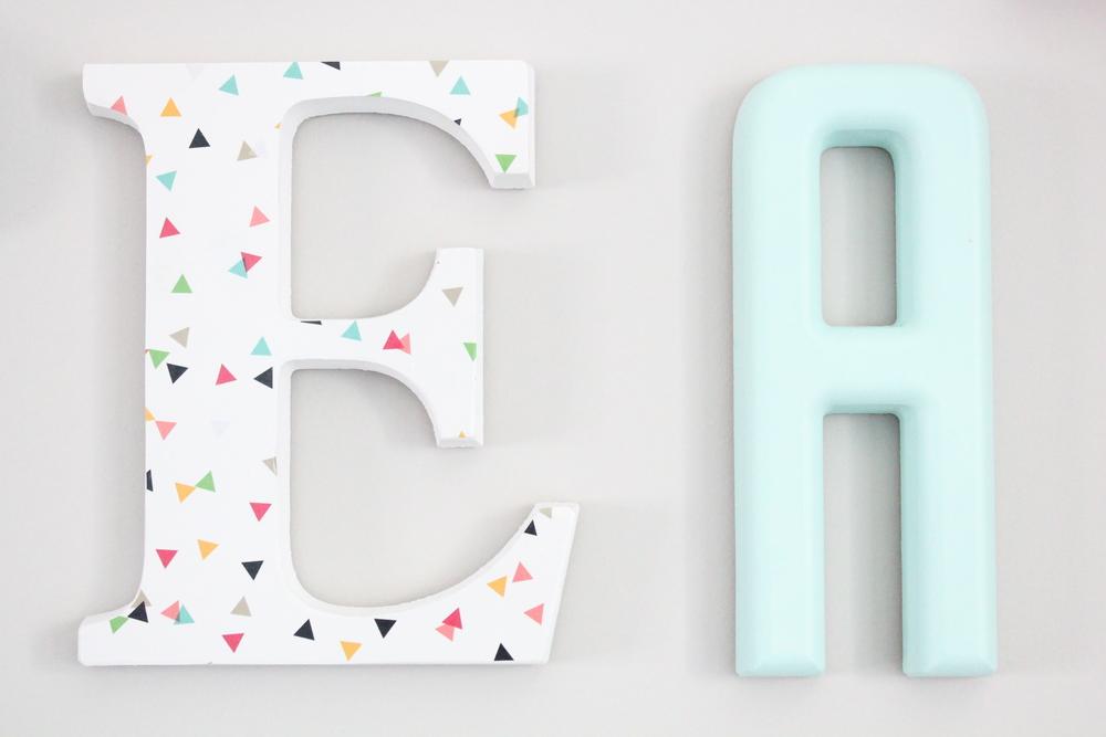 DIY letters painted and covered in scrapbook paper.