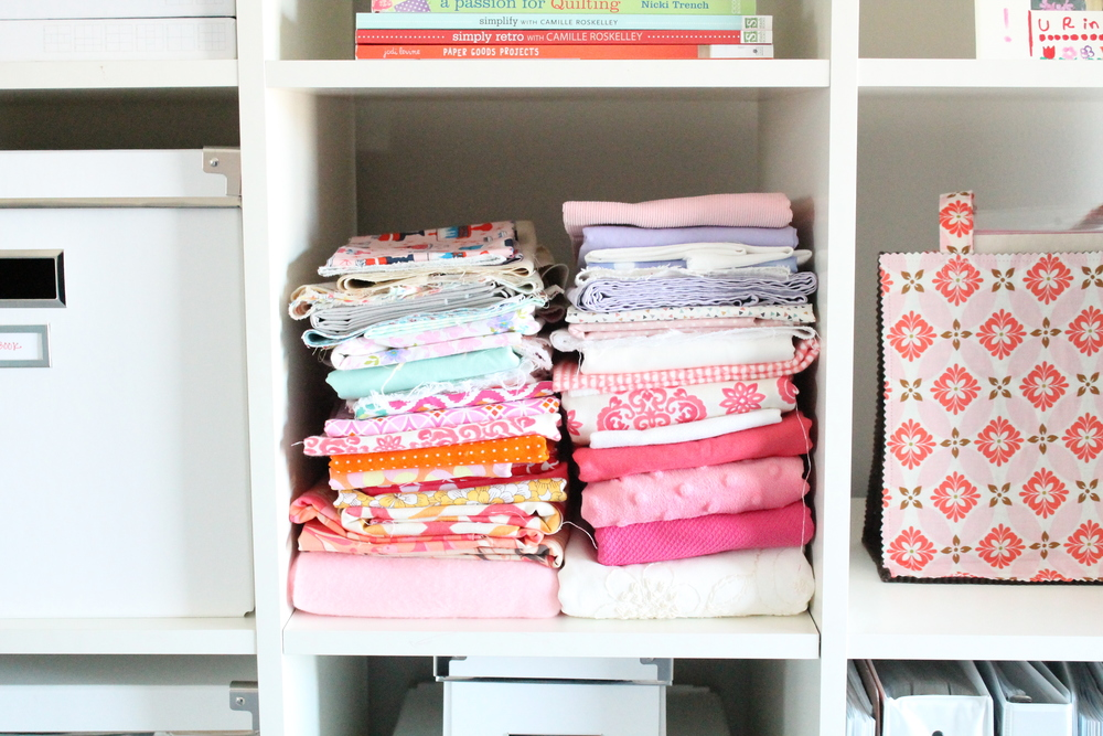 Fabric storage for craft room in Tessie Fay's family craft studio.