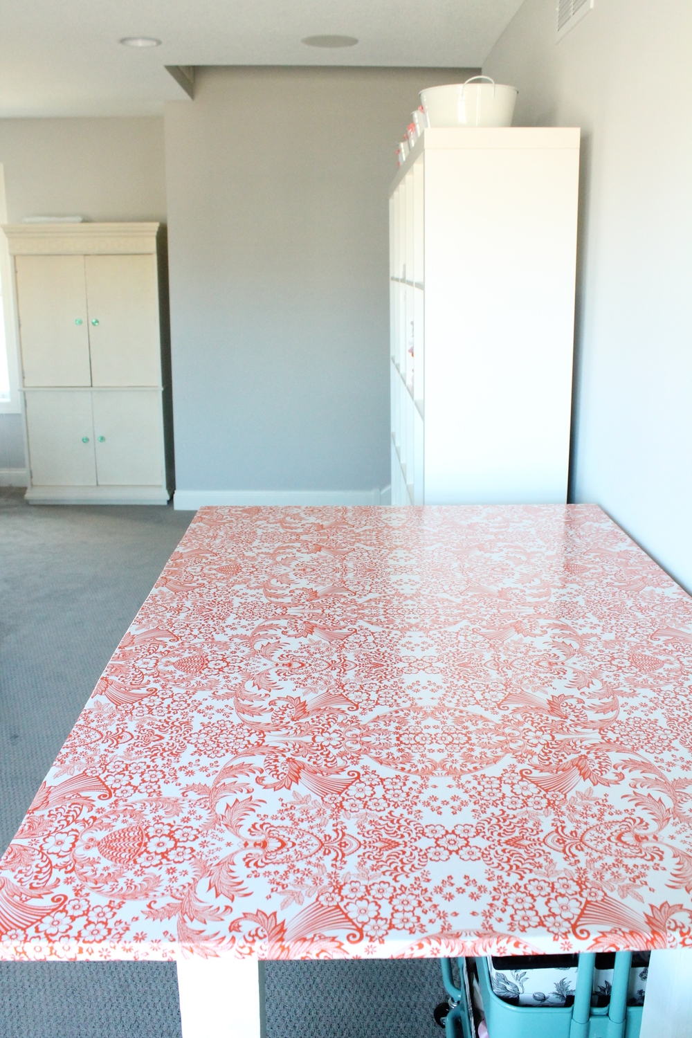 Oilcloth covered cutting table for craft room.