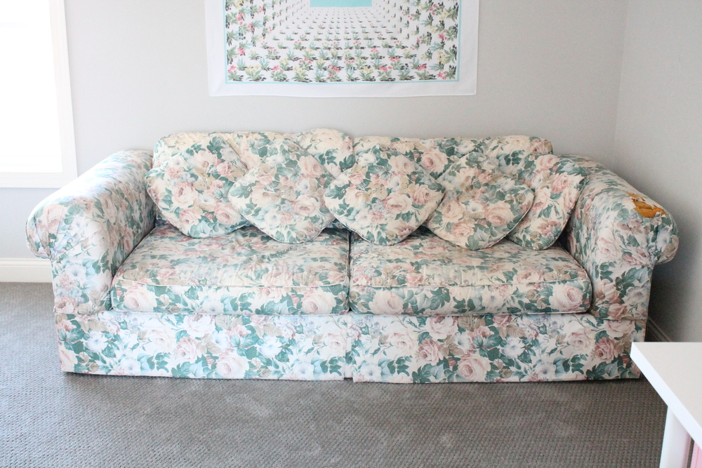 The most comfortable sofa in the world. In the family craft room.