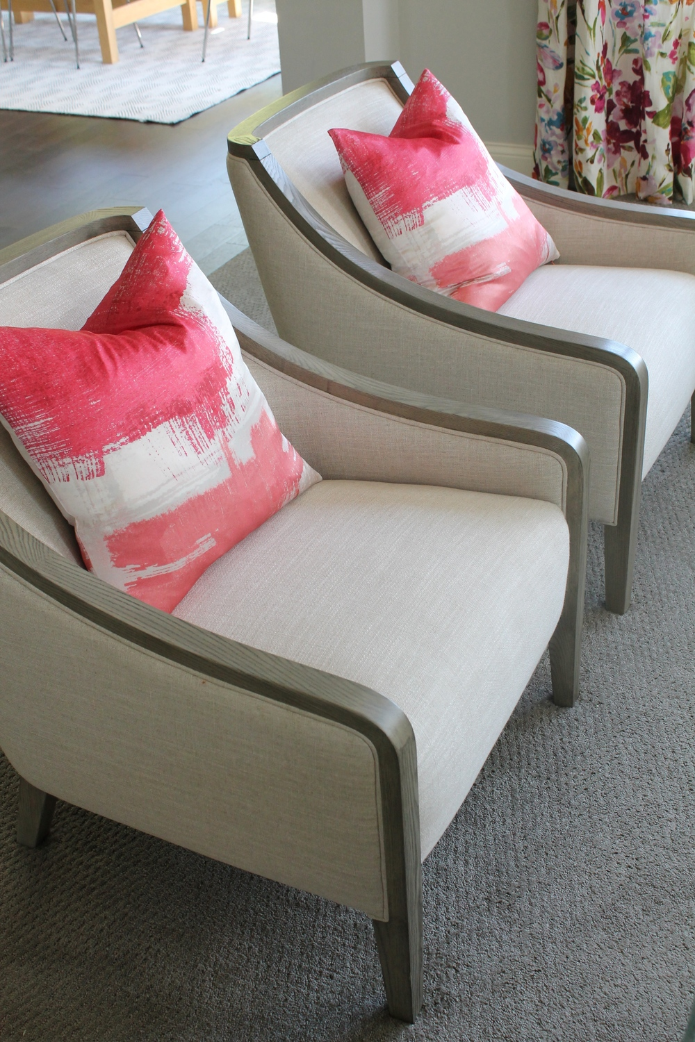 Brynn Chair from Crate and Barrel with brushwork pillows from West Elm.