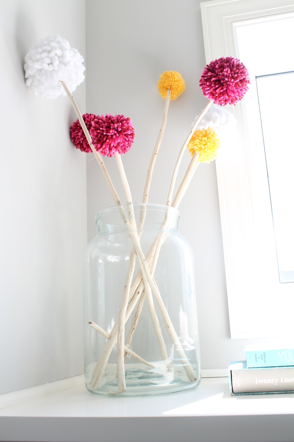 DIY Pickle Jar with Pom Poms.