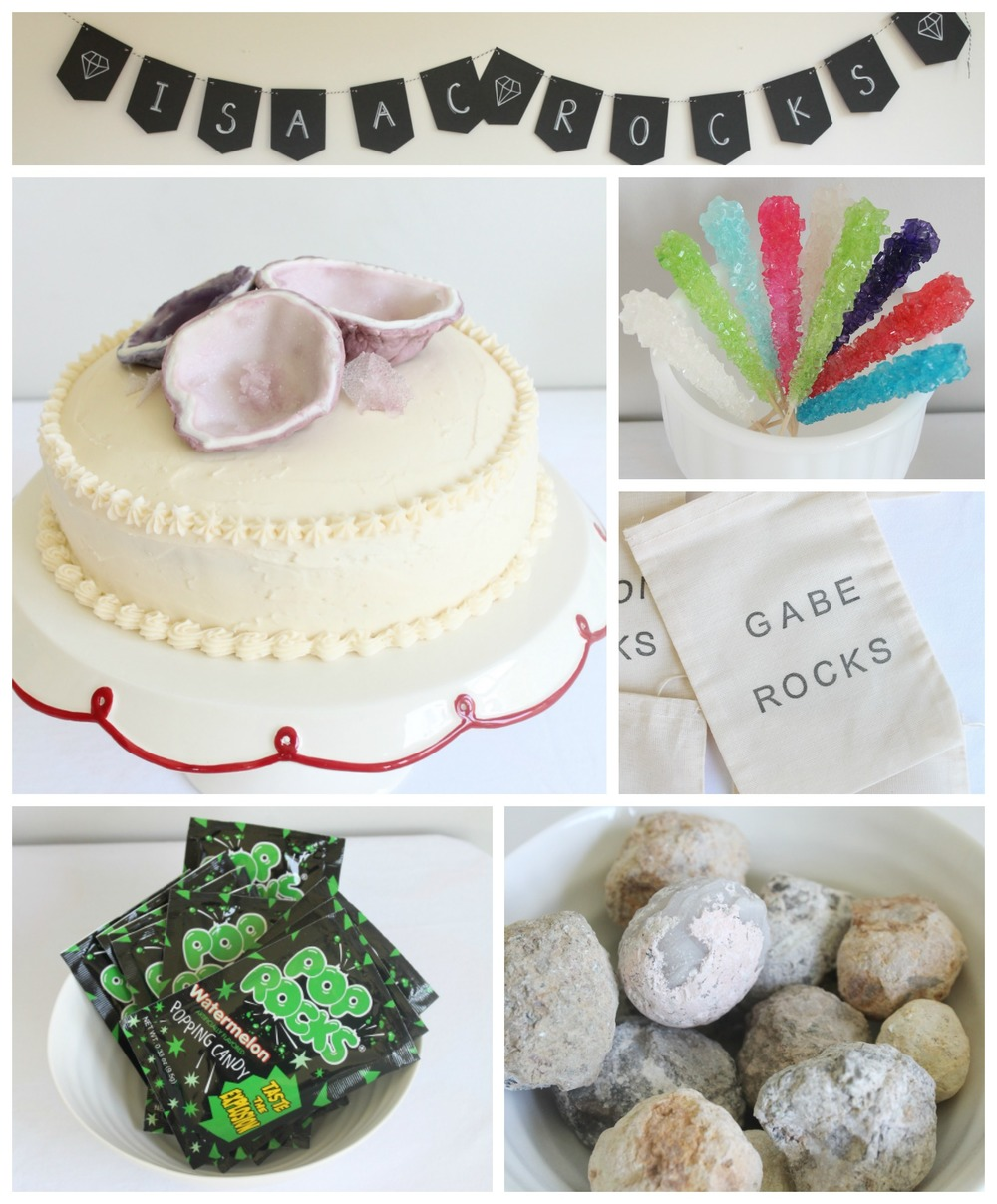 "A ""Rock"" birthday party filled with geodes, rock candy, pop rocks and polished rocks."