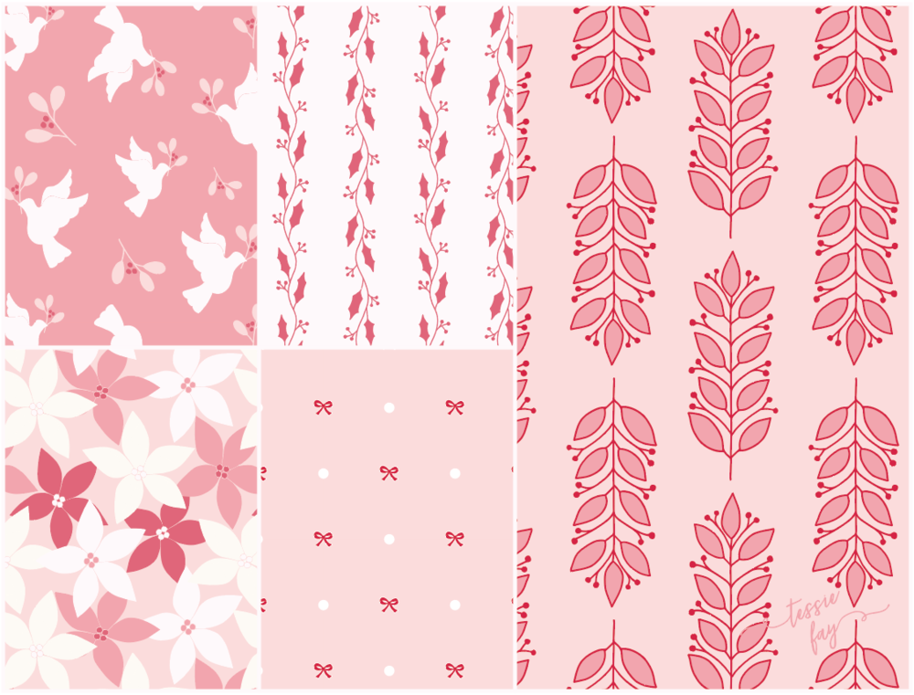Christmas Wrapping Paper Collection by Tessie Fay. Christmas in Pink