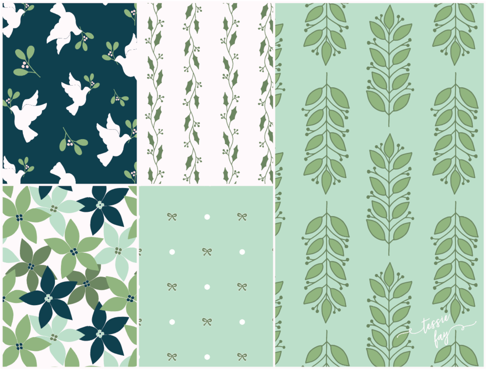 Christmas Wrapping Paper Collection by Tessie Fay. Christmas in Green.